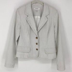 Isaac Mizrahi Grey and White Stripes Jacket